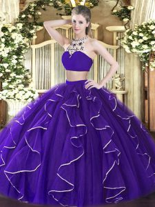 Deluxe Purple Quinceanera Dresses Military Ball and Sweet 16 and Quinceanera with Beading and Ruffles High-neck Sleeveless Backless