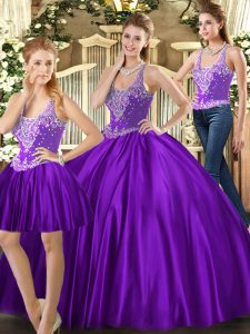 Superior Floor Length Purple Sweet 16 Quinceanera Dress Tulle Sleeveless Beading