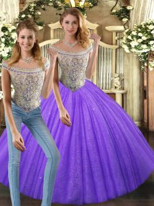 Two Pieces Sweet 16 Dresses Eggplant Purple Bateau Tulle Sleeveless Floor Length Lace Up