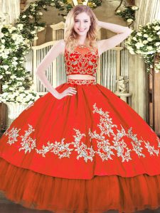 Pretty Scoop Sleeveless Tulle Sweet 16 Quinceanera Dress Beading and Appliques Zipper
