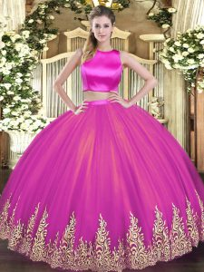 Sleeveless Floor Length Appliques Criss Cross Sweet 16 Dresses with Fuchsia