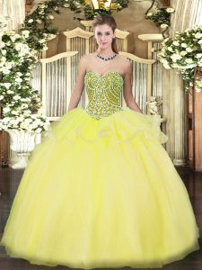 Designer Floor Length Yellow Quinceanera Gown Tulle Sleeveless Beading and Ruffles