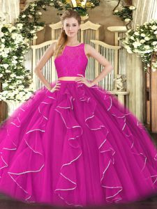 Lace and Ruffles Quinceanera Dresses Fuchsia Zipper Sleeveless Floor Length