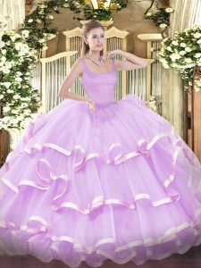 Straps Sleeveless Organza Quinceanera Gown Beading and Ruffled Layers Zipper