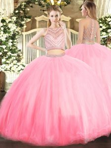 Classical Baby Pink Zipper Scoop Beading 15th Birthday Dress Tulle Sleeveless