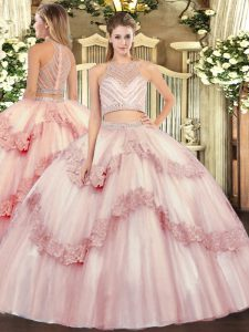 Fabulous Scoop Sleeveless Sweet 16 Dresses Floor Length Beading and Appliques Baby Pink Tulle