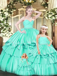 Sleeveless Ruffles Zipper Quinceanera Gowns