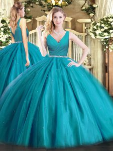 Tulle V-neck Sleeveless Zipper Beading Sweet 16 Dress in Teal