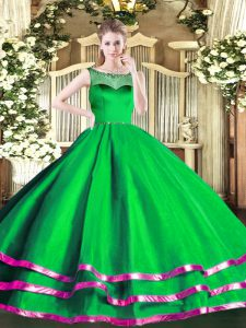 Vintage Floor Length Green Quinceanera Gowns Scoop Sleeveless Zipper