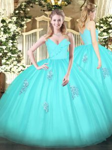 Edgy Aqua Blue Spaghetti Straps Zipper Appliques 15 Quinceanera Dress Sleeveless