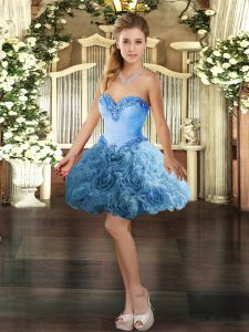 Romantic Baby Blue Ball Gowns Fabric With Rolling Flowers Sweetheart Sleeveless Beading Mini Length Lace Up Evening Dress