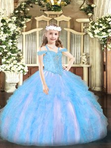 Off The Shoulder Sleeveless Lace Up Pageant Dresses Baby Blue Organza