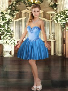 Wonderful Sleeveless Mini Length Beading Lace Up Prom Party Dress with Baby Blue