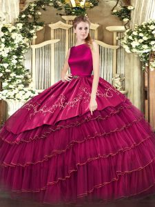 Ball Gowns Sweet 16 Dress Fuchsia Scoop Organza Sleeveless Floor Length Clasp Handle
