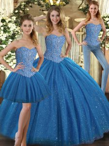 On Sale Teal Ball Gowns Beading Sweet 16 Dresses Lace Up Tulle Sleeveless Floor Length