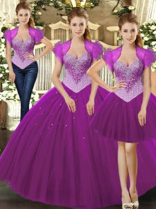 Beading Sweet 16 Quinceanera Dress Fuchsia Lace Up Sleeveless Floor Length