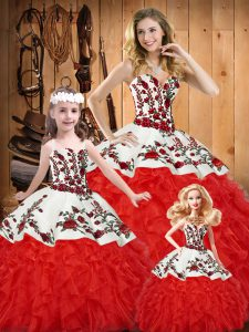 Stylish White And Red Sleeveless Satin and Organza Lace Up Quinceanera Gowns for Military Ball and Sweet 16 and Quinceanera
