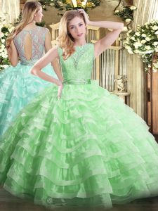 Nice Apple Green Backless Sweet 16 Dresses Lace and Ruffled Layers Sleeveless Floor Length