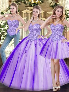 Sleeveless Beading Lace Up 15th Birthday Dress