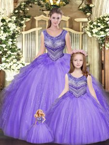 Most Popular Eggplant Purple Scoop Lace Up Beading and Ruffles Sweet 16 Dresses Sleeveless