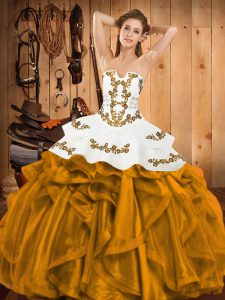 Suitable Strapless Sleeveless 15th Birthday Dress Floor Length Embroidery and Ruffles Gold Satin and Organza