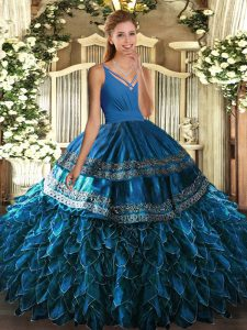 Dynamic Blue Sleeveless Beading and Appliques and Ruffles Floor Length Ball Gown Prom Dress