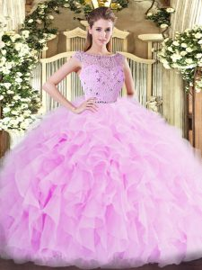 Floor Length Zipper Sweet 16 Dresses Lilac for Military Ball and Sweet 16 and Quinceanera with Beading and Ruffles