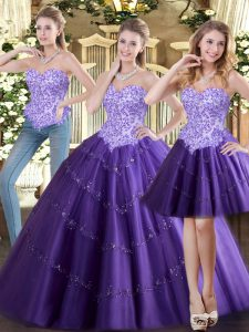 Custom Made Sleeveless Lace Up Floor Length Beading Quince Ball Gowns