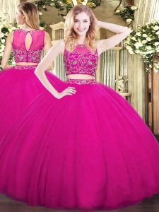 Floor Length Fuchsia Quinceanera Gowns High-neck Sleeveless Zipper