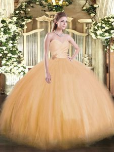 Fancy Orange Sweetheart Lace Up Beading Ball Gown Prom Dress Sleeveless