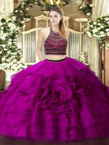 Fabulous Fuchsia Halter Top Zipper Beading and Ruffled Layers Quince Ball Gowns Sleeveless