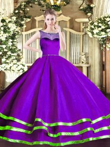 Pretty Purple Quince Ball Gowns Sweet 16 and Quinceanera with Beading and Ruffled Layers Scoop Sleeveless Zipper