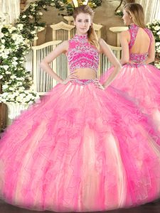 Extravagant Watermelon Red and Rose Pink Backless High-neck Beading and Ruffles Quinceanera Gown Tulle Sleeveless