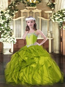 Sleeveless Organza Floor Length Lace Up Pageant Dress for Teens in Olive Green with Beading and Ruffles