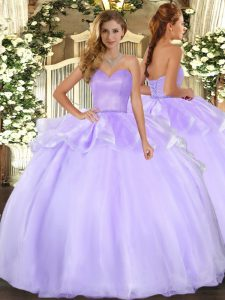 Delicate Lavender Sweetheart Lace Up Beading and Ruffles Quinceanera Gown Sleeveless
