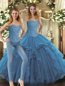 Floor Length Lace Up Sweet 16 Dress Teal for Military Ball and Sweet 16 and Quinceanera with Beading and Ruffles
