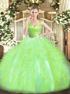 Enchanting Sleeveless Zipper Floor Length Beading and Ruffles Ball Gown Prom Dress