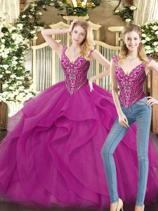 Fuchsia Ball Gowns Beading and Ruffles Ball Gown Prom Dress Lace Up Organza Sleeveless Floor Length