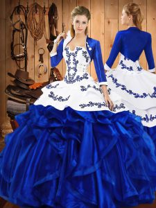 Beautiful Sleeveless Satin and Organza Floor Length Lace Up 15 Quinceanera Dress in Blue with Embroidery and Ruffles
