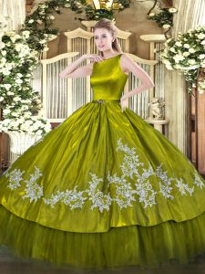 Floor Length Olive Green Sweet 16 Quinceanera Dress Scoop Sleeveless Clasp Handle