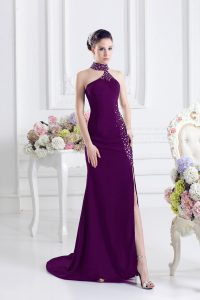 Dark Purple Sleeveless Elastic Woven Satin Sweep Train Zipper Homecoming Dress for Prom and Party