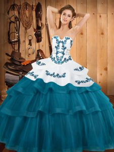 Fashion Teal Ball Gowns Tulle Strapless Sleeveless Embroidery and Ruffled Layers Lace Up 15 Quinceanera Dress Sweep Train
