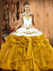 Romantic Gold Sleeveless Floor Length Embroidery and Ruffles Lace Up Vestidos de Quinceanera