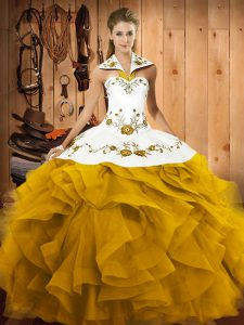 Embroidery and Ruffles Quinceanera Dress Gold Lace Up Sleeveless Floor Length