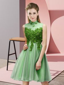 Romantic Knee Length Empire Sleeveless Apple Green Dama Dress for Quinceanera Lace Up