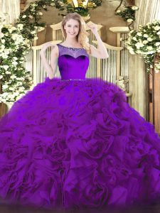 Smart Eggplant Purple Sweet 16 Quinceanera Dress Sweet 16 and Quinceanera with Beading Scoop Sleeveless Zipper