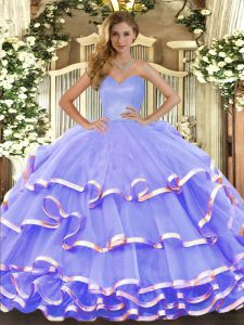 Lavender Sweetheart Lace Up Ruffled Layers Ball Gown Prom Dress Sleeveless