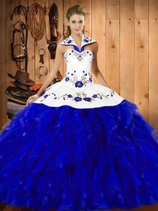 Floor Length Lace Up Ball Gown Prom Dress Blue And White for Military Ball and Sweet 16 and Quinceanera with Embroidery and Ruffles