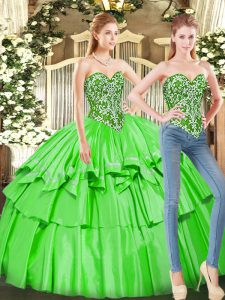 Floor Length Quinceanera Dress Tulle Sleeveless Ruffled Layers
