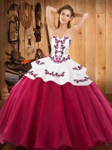 Sleeveless Floor Length Embroidery Lace Up Sweet 16 Quinceanera Dress with Hot Pink